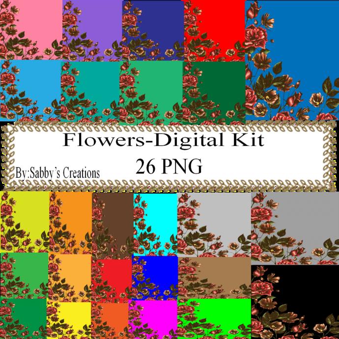 Flowers 2 Digital Kit-Art Clip-Gift Tag-Jewelry-Clipart-T