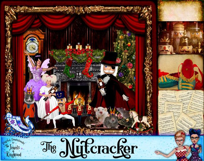 Nutcracker Ballet Christmas Scrapbook Kit - Handmade Paper & Clipart