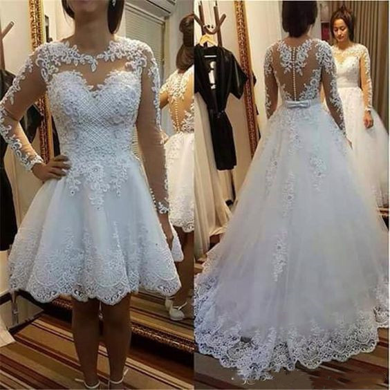 Long Sleeve Appliques White Tulle Wedding Dress with Detachable Skirt, Illusion