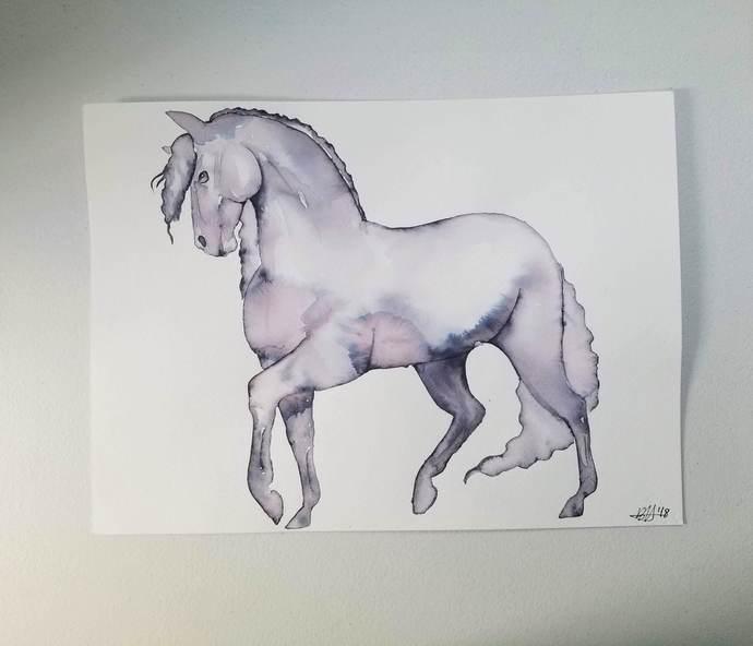 "Original Friesian Horse Watercolor Painting/""The Friesian""/11x15/Unframed"