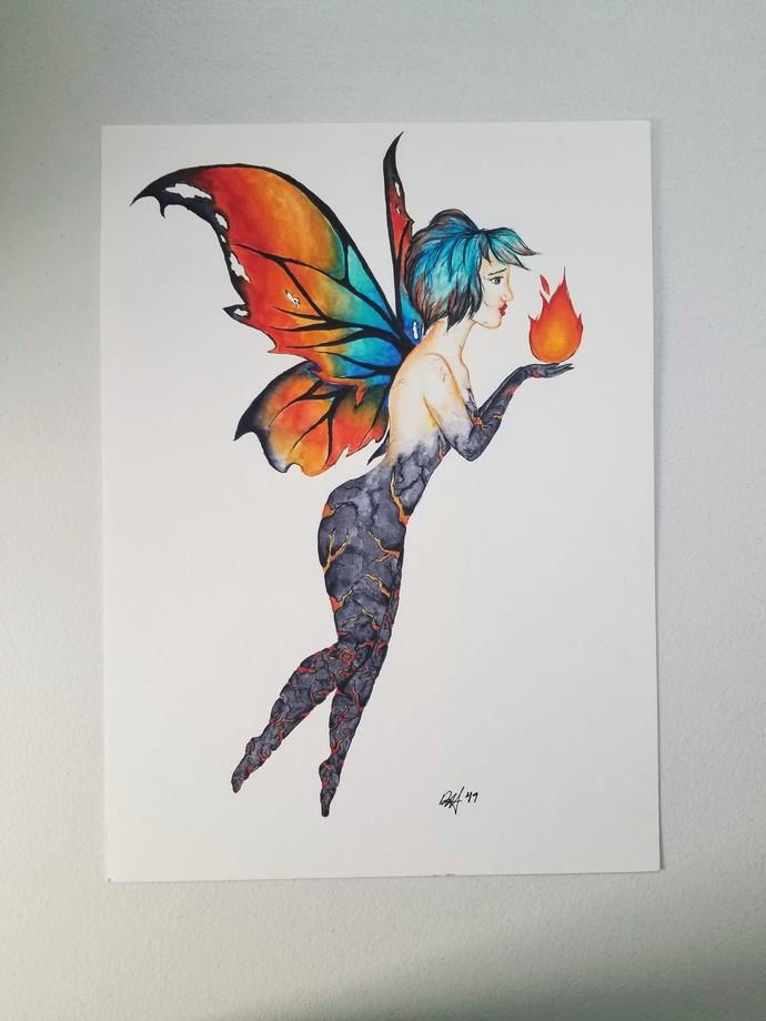 "Original ""Fire Faerie"" watercolor painting/11x15"