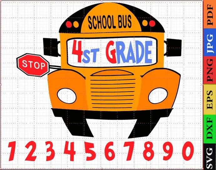 4st grade, bus svg, school bus, school bus cut file, school bus decal, school