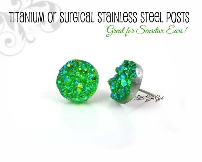 Green Druzy Stud Earrings - 12mm Green Crystal Post Earrings -  Titanium or