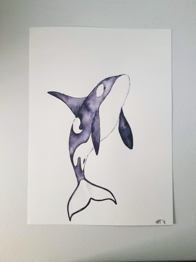Original Orca Watercolor Painting/Killer Whale Painting/15x11