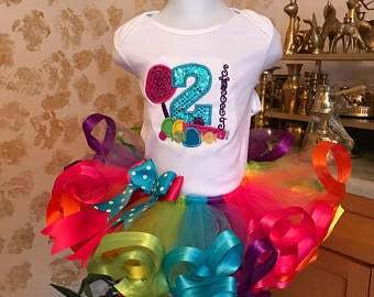 Candy land tutu set, candy land birthday outfit, lollipop birthday set, rainbow
