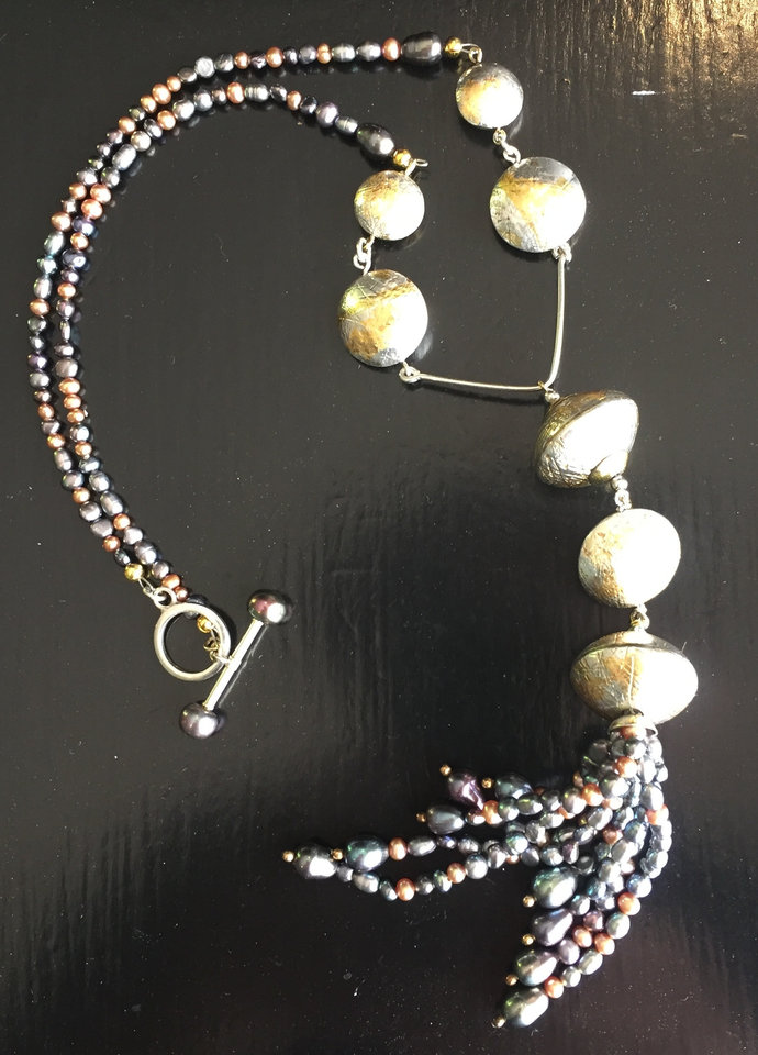 Sterling SilverNecklace ofFreshwater Pearls and Lentil Beads Tassel Style