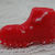 Vintage Painted Red Glass Boot Shoe Realistic Goofy Button