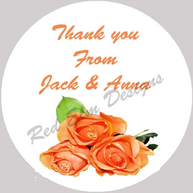 """Thank You Stickers - Sheet of 20 - 2"""" round.  Rose Sticker Favors.  2 Inch Round"""