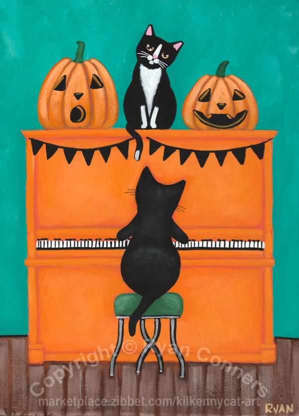The Halloween Piano Cats Original Cat Folk Art Painting