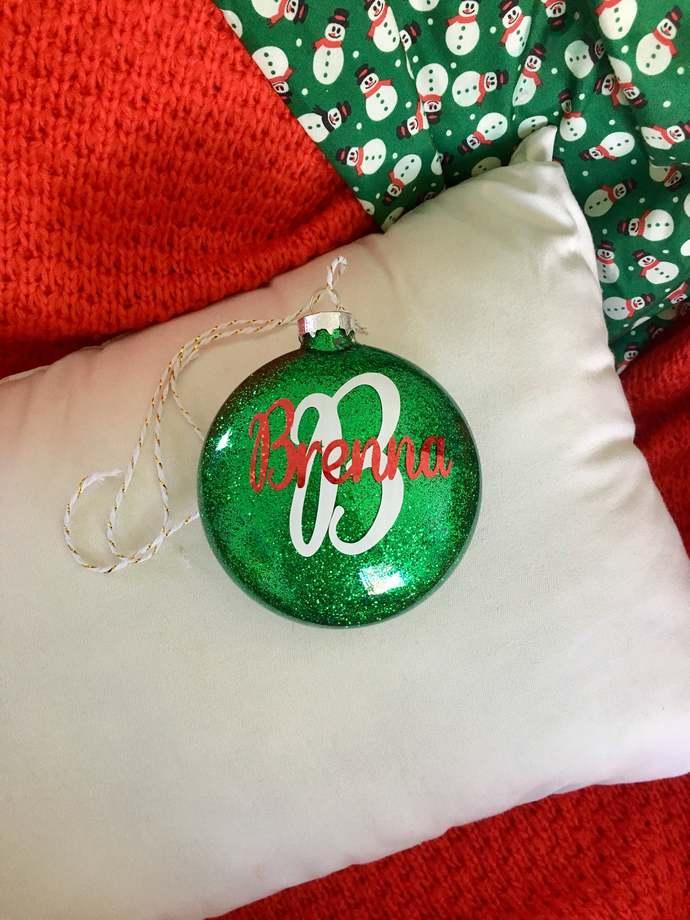 "3.15"" Flat Glass Glitter Christmas Ornament, Personalized, Custom Christmas"