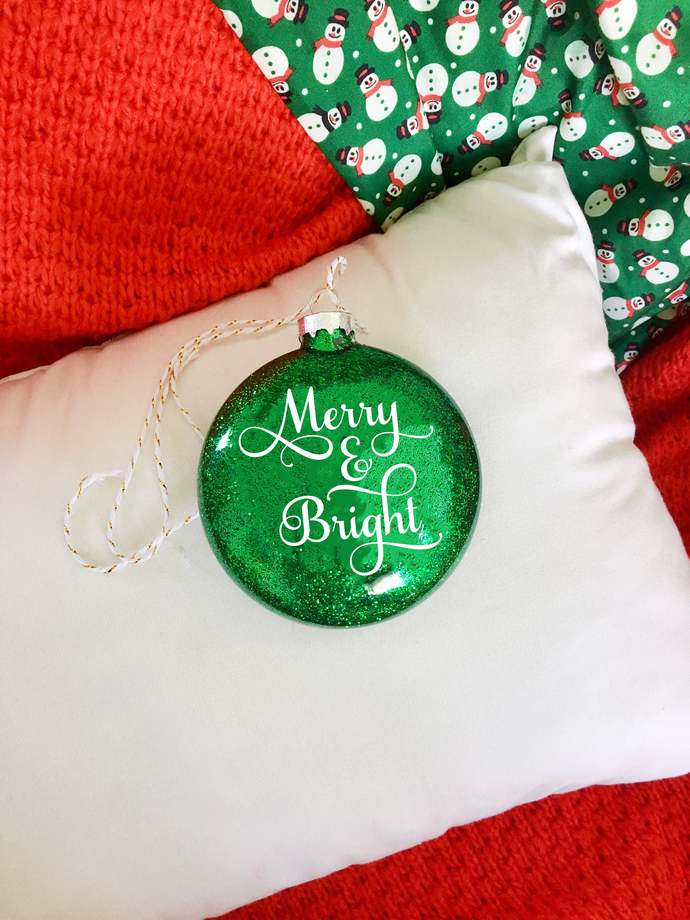 "4"" Flat Glass Glitter Christmas Ornament, Merry & Bright, Custom Christmas"
