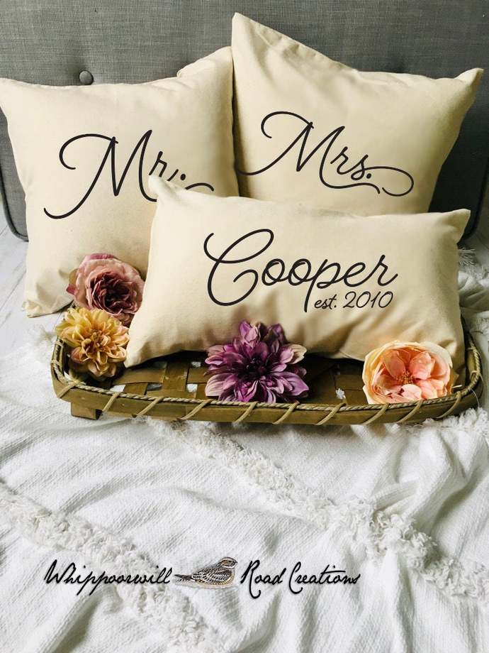 Mr and Mrs Pillow Covers, Pillow Set, Set of 3 Pillows