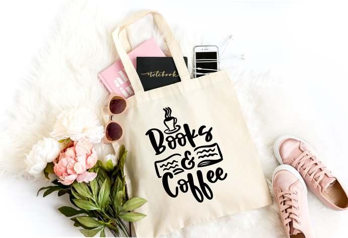 Books & Coffee Canvas Tote, Reusable Library Tote, Book Tote