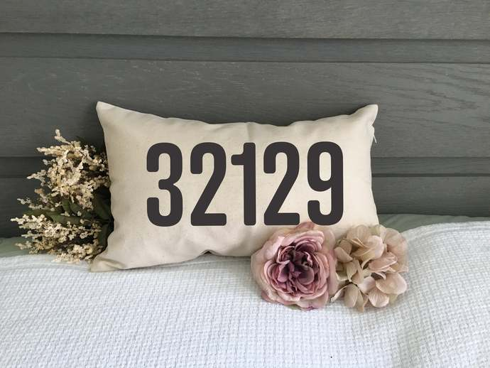 Personalized Zip Code Pillow Cover, Housewarming Gift, Custom Gift, Dorm Decor