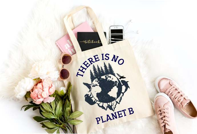 No Planet B Market Bag, Reusable Canvas Tote