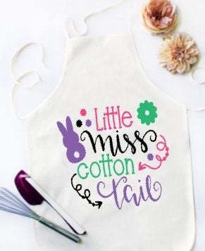 Little Miss Cotton Tail Easter apron for adults and children. Easter Gift,