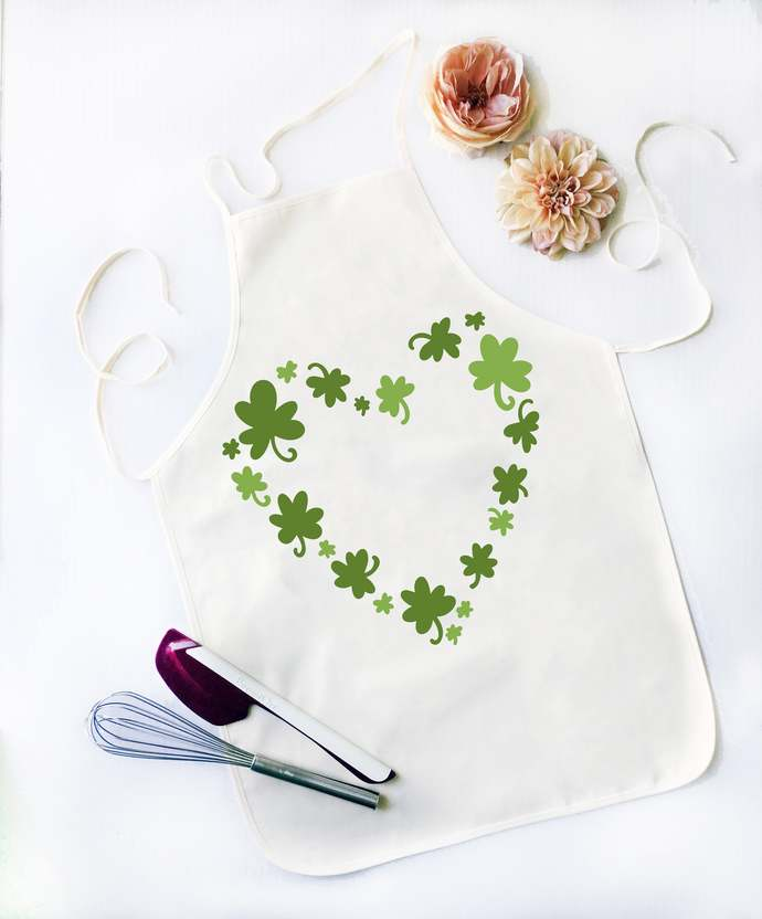 Heart of clover Apron made of cotton, cotton canvas material and Permanent