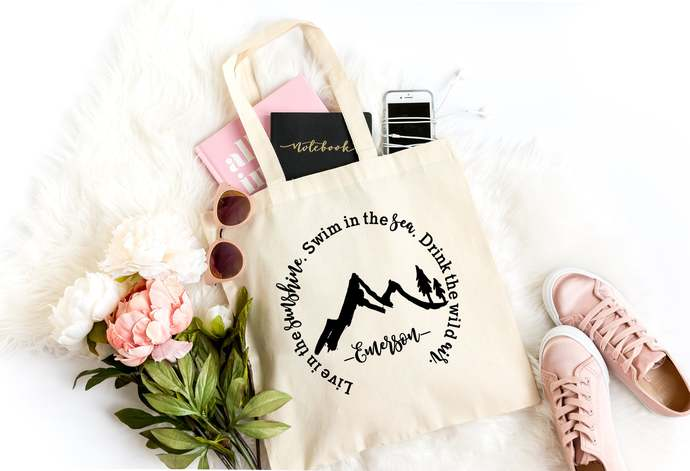 Emerson Quote, Beach Bag, Inspirational Quote Tote Bag