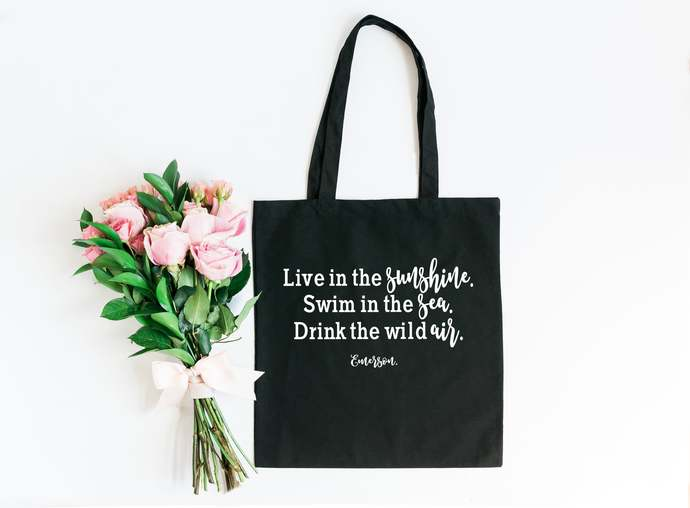 Emerson Quote Beach Bag, Inspirational Quote Tote Bag