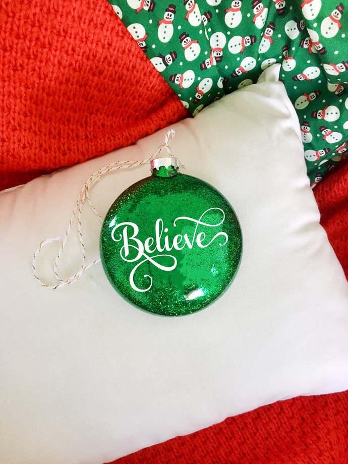 "3.15"" Flat Glass Glitter Christmas Ornament, Believe, Custom Christmas Ornament,"