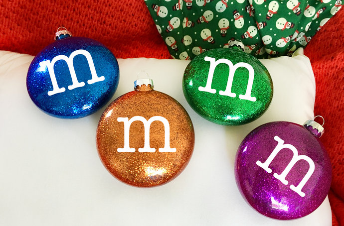 Glitter M&M Candy Ornaments.