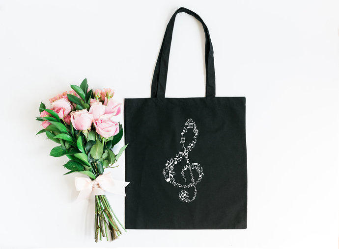 Musical Note, Market Bag, Reusable Canvas Tote