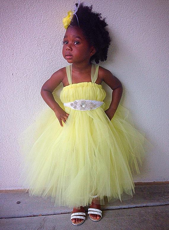 Canary Yellow Flower Girl Dress