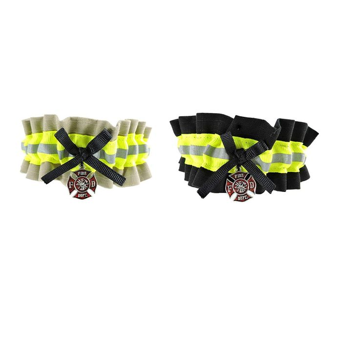 Firefighter Wedding Garter, With Optional Embroidered Name Added to Garter,