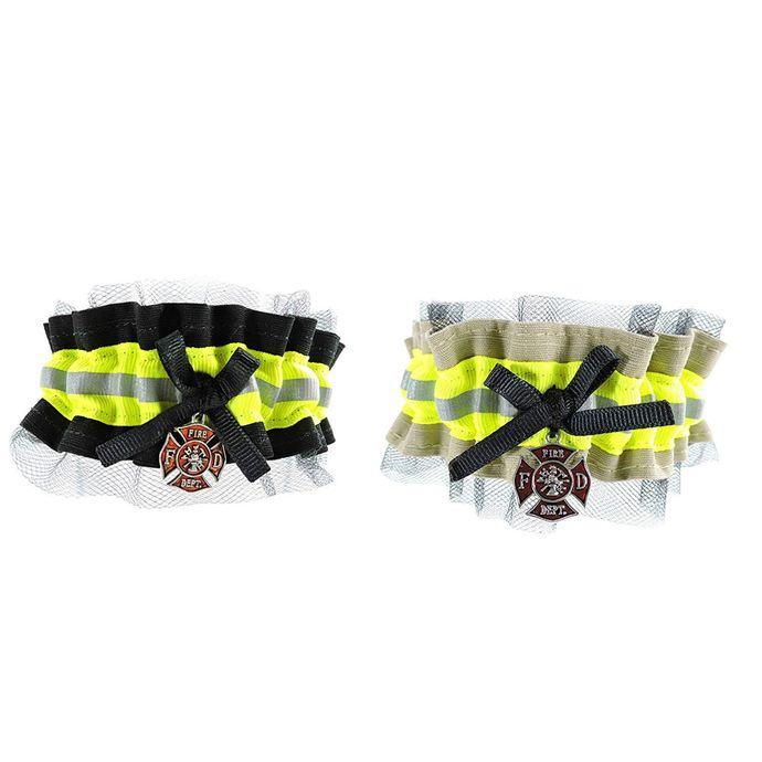 Firefighter Wedding Garter with tulle, With Optional Embroidered Name Added to