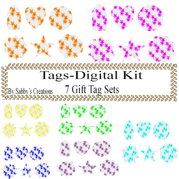 Flower Gift Tags Digital Kit 2-Digtial Paper-Clipart-Rose-Art Clip-Jewelry-T