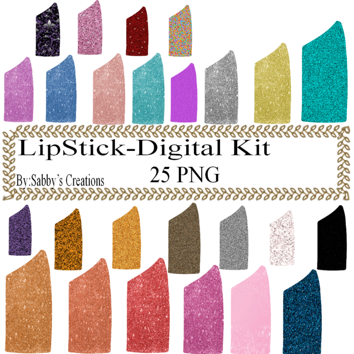 Glitter LipStick Digital Kit-Jewelry Tag-Clipart-Art Clip-Gift