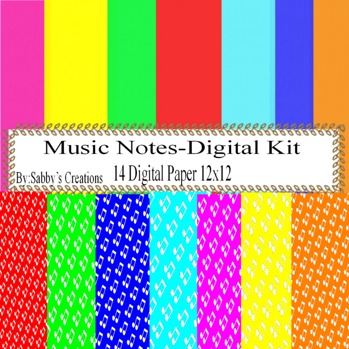 Music Notes 2 Digital Kit-Digtial Paper-Clipart-Gift Tag-Jewelry-T
