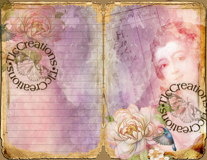 Pink Lady Vintage Printable Purple and Pink Journal Kit Journal Papers Journal