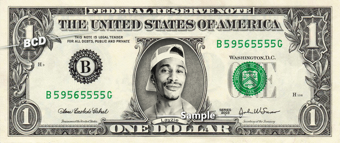 LAYZIE Bone Thugs Harmony on a REAL Dollar Bill Collectible Celebrity Cash Money