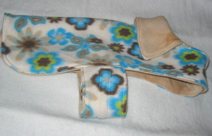 Fleece Dog Coat Reversible Blue Flowers