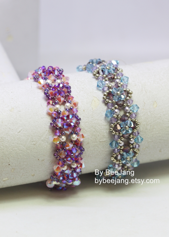Beading Pattern, Gloriana Bracelet, Bracelet Tutorial, Digital Download, PDF