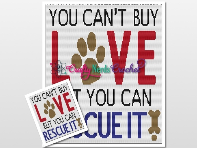 Can't Buy Love Animal Rescue Pattern Graph with DC Double Crochet Written
