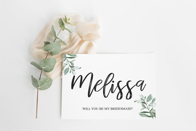 Custom Bridesmaid Proposal Wedding Day Card, Bridal Party, Personalized Floral