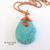 Turquoise Magnesite Pendant Necklace on Copper Chain - Wire Wrapped Stone