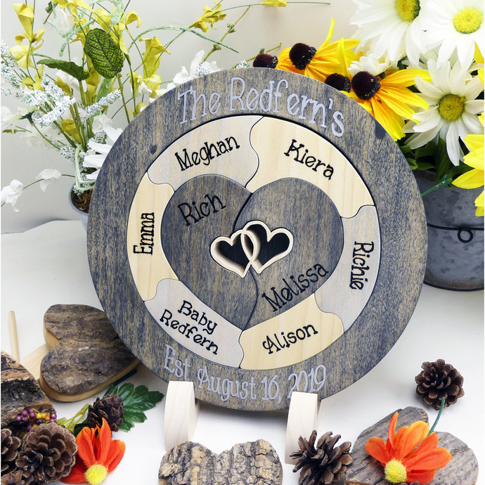 Family Custom Designed Unity Puzzle® Wedding Unity Ceremony Alternative Unique