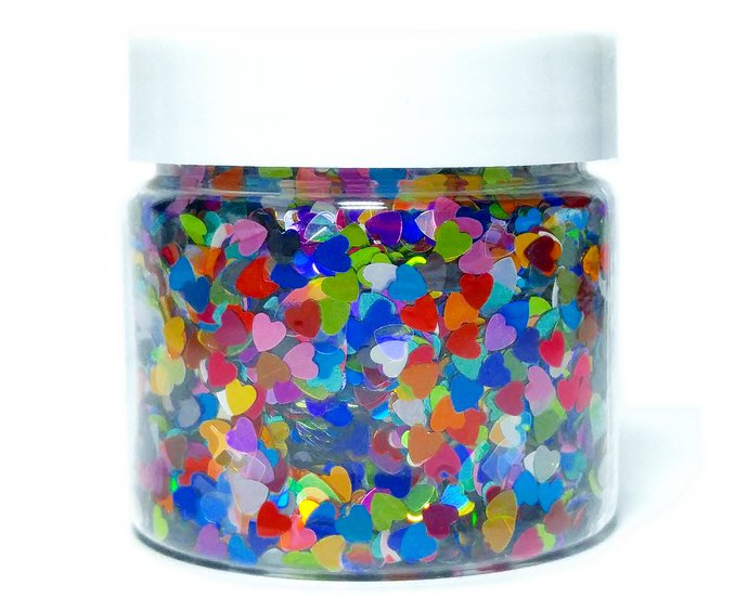 Heartz Desire - Heart Shaped Holographic Loose Cosmetic & Craft Glitter Mix