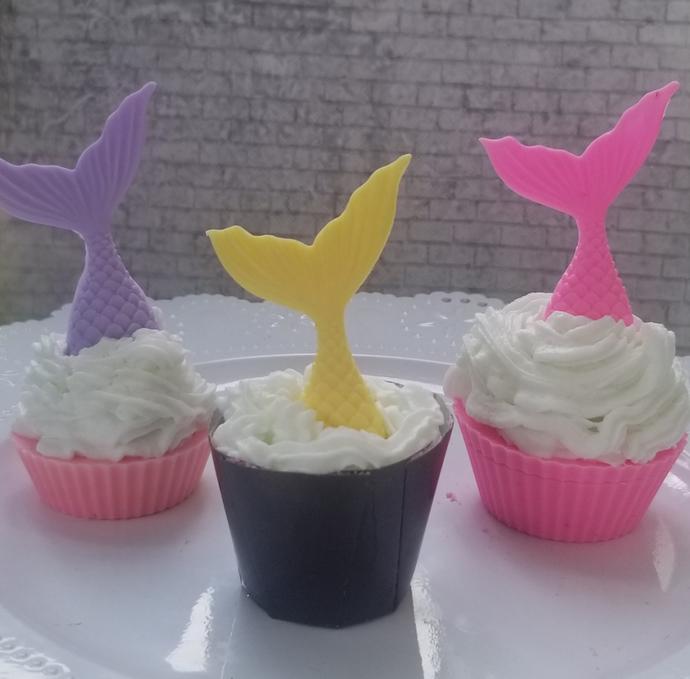 Mermaid soap cupcakes and bathbomb, bathbomb, mermaid, soap, cupcake