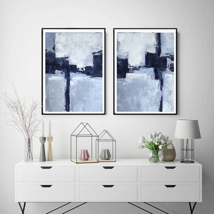 Blue Abstract Art, Printable Art, Set of 2 Prints, Modern Art Print Set,
