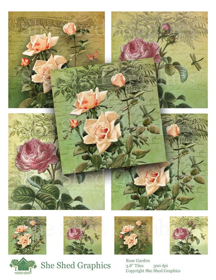 "Rose Garden 3.8"" Tile Coaster Printable Digital Download Graphic Images, Altered"