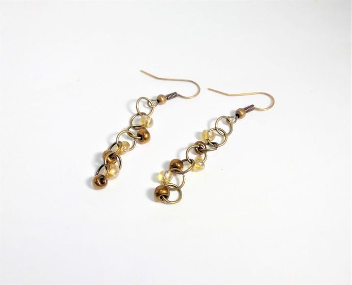 Vintage Style jump ring earrings Tibetan Style beaded jump ring silver Earrings