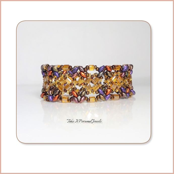 Gold Tortoise Glass Cube Statement Bracelet Beaded Crystal handmade jewelry