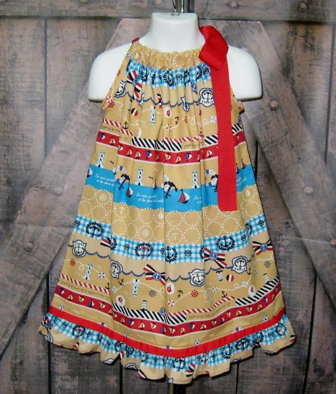 Nautical Pillowcase Dress, Summer Dress, Party Dress, Girl Dress, Ruffle Dress,