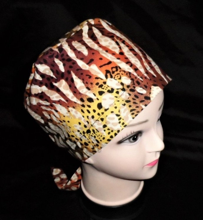 Multicolored Scrub Caps Ladies Pixie Tie Back Animal Print OR Caps Women