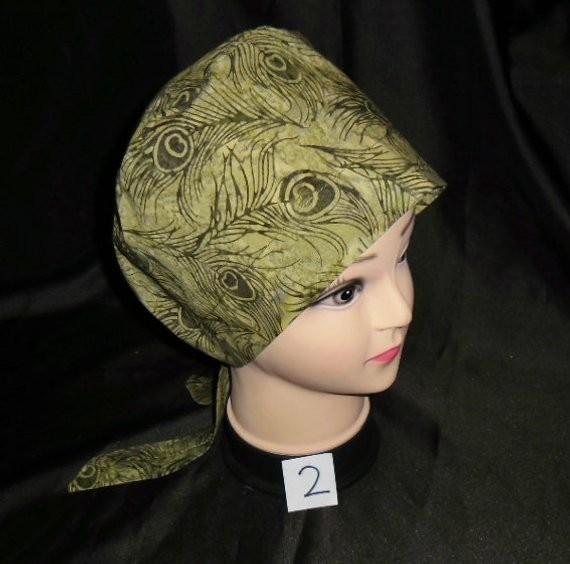 Ladies Super Cute Nursing Surgical Scrubs Scrub Caps OR Hat Pixie Cap PEACOCK