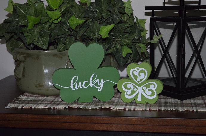 St Patricks Wood Decor-Lucky Shamrock-Wood Clover-Painted Wood Home Decor-St